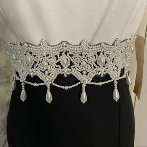 Dave & Johnny Formal Gown Pearl Embellished Waist
